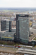 Nederland, Amsterdam, Zuidas, 16-04-2008; het hoofdkantoor van de ABN-AMRO (ABN AMRO); station ZUid-WTC in de voorgrond; beeldmerk, merk, logo..luchtfoto (toeslag); aerial photo (additional fee required); .foto Siebe Swart / photo Siebe Swart