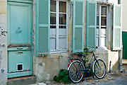 Cobbled stones traditional street scene at St Martin de Re,  Ile de Re, France