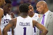 FORT WORTH, TX - JANUARY 4: TCU Horned Frogs head coach Trent Johnson looks on against the West Virginia Mountaineers on January 4, 2016 at Ed and Ray Schollmaier Arena in Fort Worth, Texas.  (Photo by Cooper Neill/Getty Images) *** Local Caption *** Trent Johnson