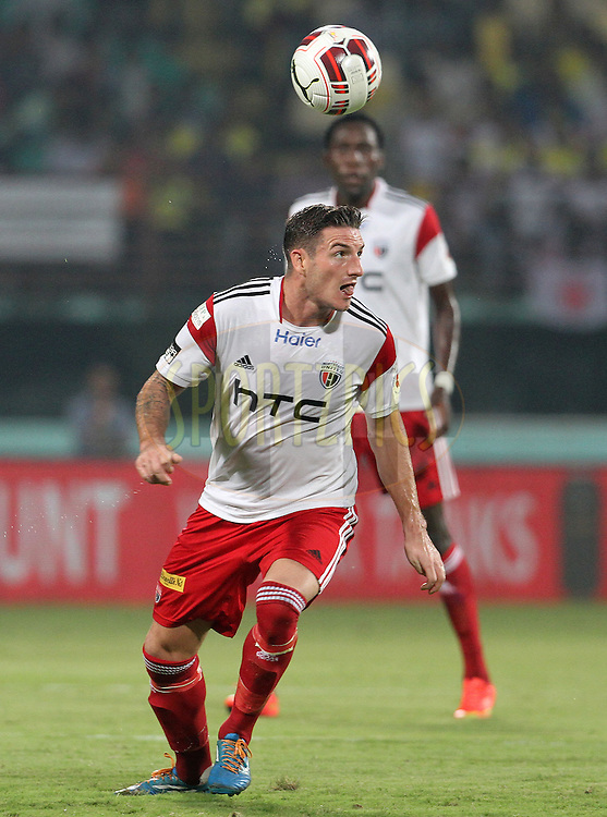 James Keene of NorthEast United FC on the attack during match 49 of the Hero Indian Super League between Kerala Blasters FC and North East United FC held at the Jawaharlal Nehru Stadium, Kochi, India on the 4th December 2014.<br /> <br /> Photo by:  Vipin Pawar/ ISL/ SPORTZPICS