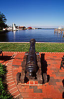 """St. Michaels, Maryland--The remains of a cannon stands in memorial of the Battle of St. Michaels of the war of 1812.St. Michaels is known as """"The Town that Fooled the British"""" because of a clever defense strategy during the War of 1812. Local legend has it that residents hung lanterns in trees beyond the town and dimmed their household lights tricking the British naval vessels into overshooting the town...In 2007 the town was named #8 of the Top Ten Romantic Escapes in the USA by Coastal Living Magazine."""