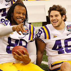 January 6, 2012; New Orleans, LA, USA; LSU Tigers defensive end Lavar Edwards (89) laughs with teammate linebacker Seth Fruge (48) during Media Day for the 2012 BCS National Championship game to be played on January 9, 2012 against the Alabama Crimson Tide at the Mercedes-Benz Superdome.  Mandatory Credit: Derick E. Hingle-US PRESSWIRE
