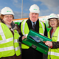 A Ceremonial Trowel being presented to the Minister of Education and Science, Ms Jan O'Sullivan, TD, to commemerate the turing of the sod in the new Tulla Seconadary School. <br /> The trowel was presented by Mr. Luke Gibbons, Project Director with BAM Construction.<br /> Pictured along with the Principle of St. Joseph's Secondary School, Ms. Margaret O'Brien