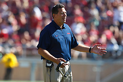 PALO ALTO, CA - OCTOBER 06: Offensive line coach Robert Anae of the Arizona Wildcats on the sidelines against the Stanford Cardinal during the third quarter at Stanford Stadium on October 6, 2012 in Palo Alto, California. The Stanford Cardinal defeated the Arizona Wildcats 54-48 in overtime. (Photo by Jason O. Watson/Getty Images) *** Local Caption *** Robert Anae