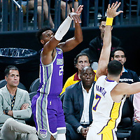 08 October 2017: Sacramento Kings guard Buddy Hield (24) takes a jump shot over Los Angeles Lakers forward Larry Nance Jr. (7) in front of Magic Johnston and Los Angeles Lakers General Manager Rob Pelinka during the LA Lakers 75-69 victory over the Sacramento Kings, at the T-Mobile Arena, Las Vegas, Nevada, USA.