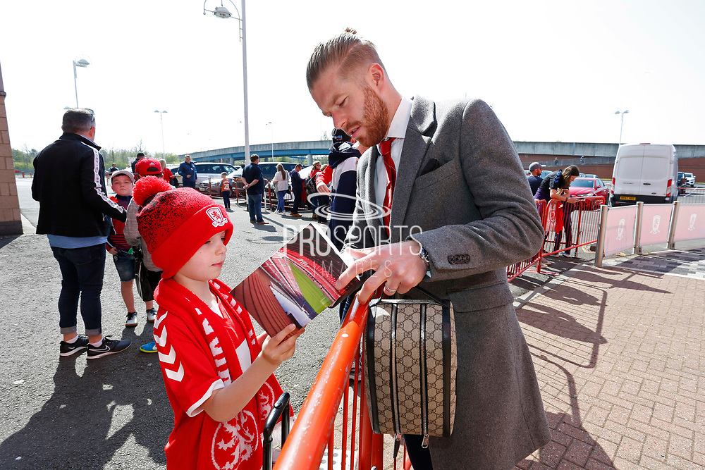 Middlesbrough midfielder Adam Clayton (8)  arriving at the ground during the EFL Sky Bet Championship match between Middlesbrough and Stoke City at the Riverside Stadium, Middlesbrough, England on 19 April 2019.