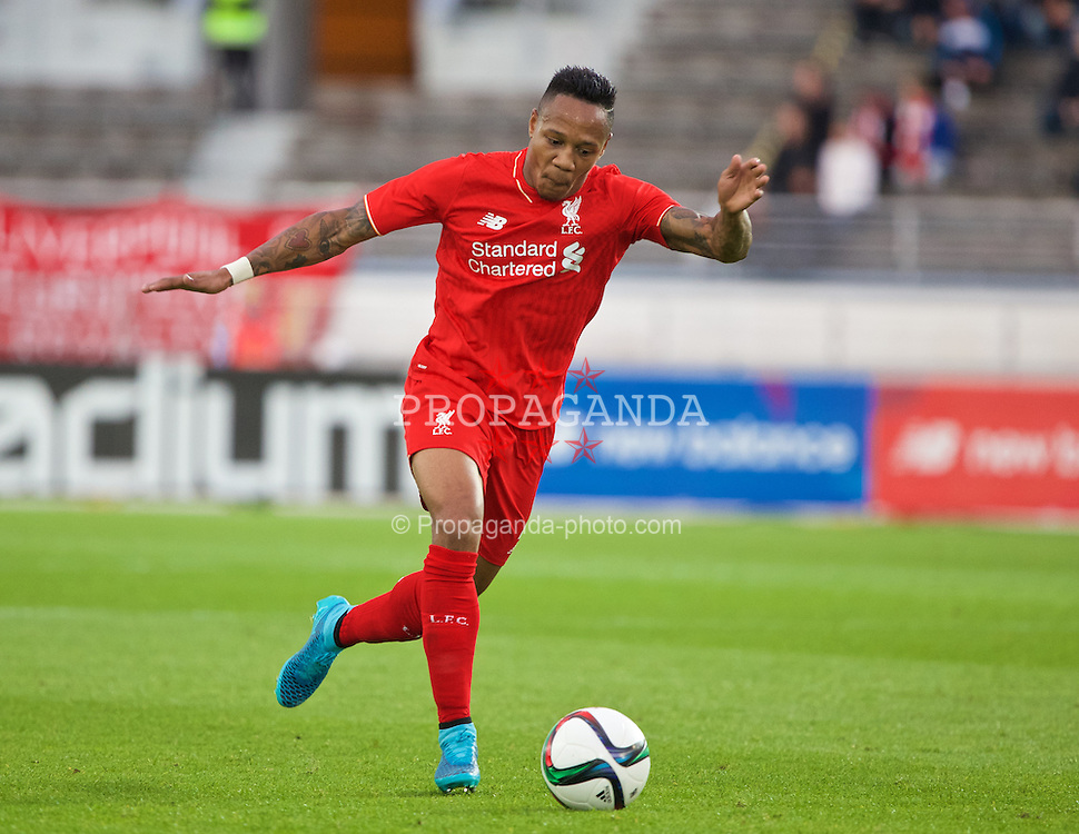 HELSINKI, FINLAND - Friday, July 31, 2015: Liverpool's Nathaniel Clyne in action against HJK Helsinki during a friendly match at the Olympic Stadium. (Pic by David Rawcliffe/Propaganda)