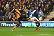 Demarai Gray of Birmingham city and Hull City midfielder Moses Odubajo during the Sky Bet Championship match between Hull City and Birmingham City at the KC Stadium, Kingston upon Hull, England on 24 October 2015. Photo by Ian Lyall.