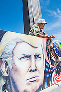 Jul 20, 2016; Cleveland, OH, USA; An activist in downtown Cleveland at the site of the Republican National Convention.