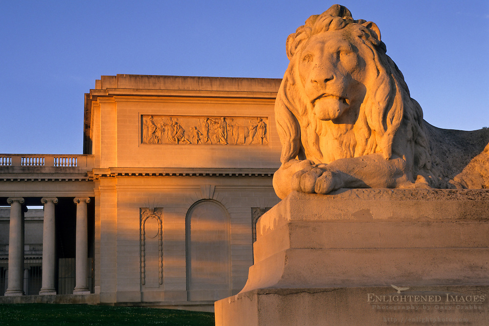 Sunrise light on stone lion statue at the The California Palace of the Legion of Honor, San Francisco, California