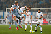 AS Monaco's Polish defender Kamil Glik vies for the ball with Olympique de Marseille's French forward Valere Germain during the French Championship Ligue 1 football match between Olympique de Marseille and AS Monaco on January 28, 2018 at the Orange Velodrome stadium in Marseille, France - Photo Benjamin Cremel / ProSportsImages / DPPI