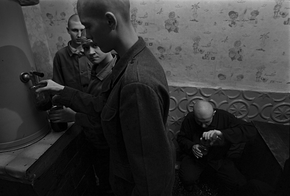 Russian juvenile prisoners prepare their strong tea (chefir)during their rest time at the colony for prisoner's children in Siberian town Leninsk-Kuznetsky, Russia, 26 January 2000.