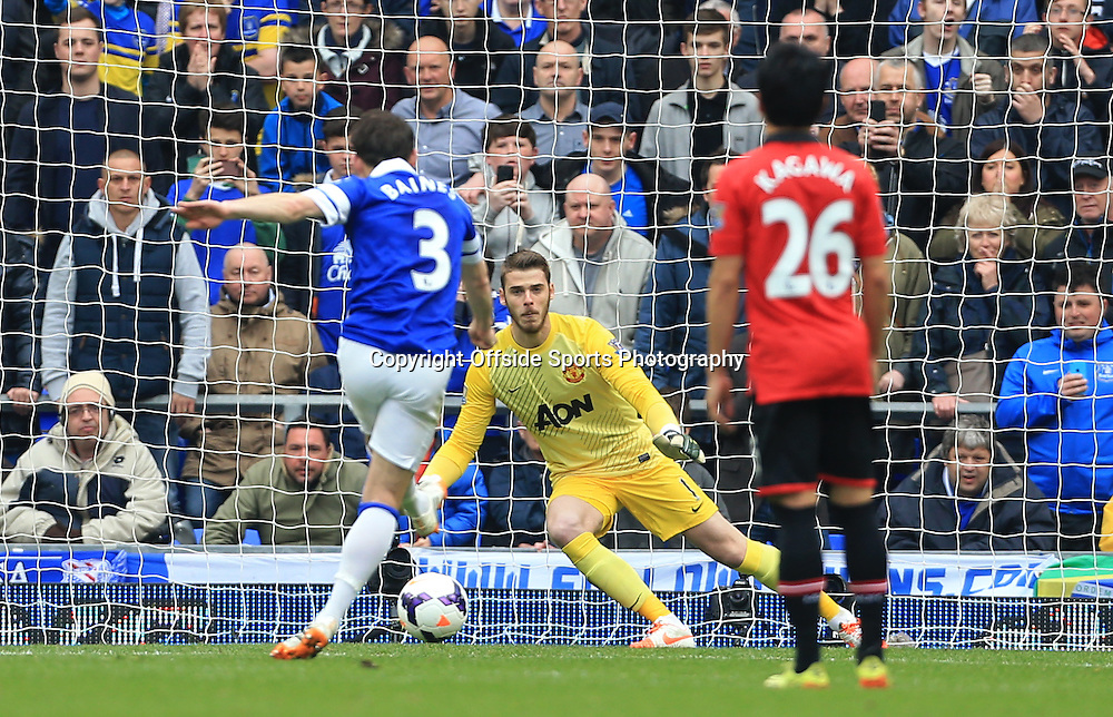 20th April 2014 - Barclays Premier League - Everton v Manchester United - Leighton Baines of Everton scores their 1st goal with a penalty - Photo: Simon Stacpoole / Offside.