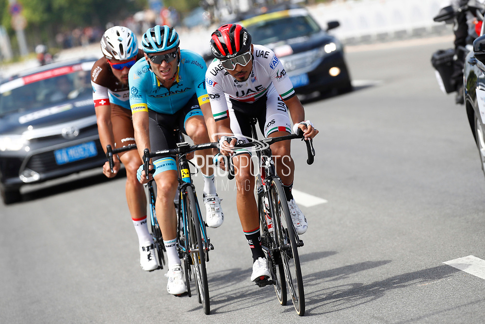 Yousif Mirza (EAU - UAE Team Emirates), Andrei Grivko (UKR - Astana Pro Team), Silvan Dillier (SUI - AG2R - La Mondiale) during the Tour of Guangxi 2018, stage 1, Beihai - Beihai 107,4 km on October 16, 2018 in Beihai, China - Photo Luca Bettini / BettiniPhoto / ProSportsImages / DPPI