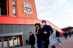 Liverpool fans wear face masks to protect themselves from the Coronavirus - Mandatory by-line: Robbie Stephenson/JMP - 11/03/2020 - FOOTBALL - Anfield - Liverpool, England - Liverpool v Atletico Madrid - UEFA Champions League Round of 16, 2nd Leg