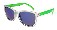 Green and clear sunglasses with purple lenses on white background