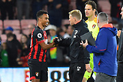 AFC Bournemouth manager Eddie Howe congratulates winning goal scorer Junior Stanislas (19) of AFC Bournemouth at full time during the Premier League match between Bournemouth and Crystal Palace at the Vitality Stadium, Bournemouth, England on 1 October 2018.