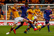 Curtis Main of Motherwell and Jake Mulraney of Hearts during the Ladbrokes Scottish Premiership match between Motherwell and Heart of Midlothian at Fir Park, Motherwell, Scotland on 17 February 2019.