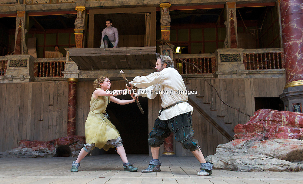 The Tempest By William Shakespeare, The Globe Theatre, London, Great Britain..Directed by Jeremy Herrin, designed by Max Jones, music by Stephen Warbeck..Roger Allam. Prospero..Jessie Buckley.Miranda,  on April 26, 2013, on April 29, 2013. Photo by Elliott Franks / i-Images. .