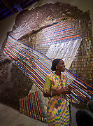 "58th Art Biennale Venice ""May You Live in Interesting Times"" curated by Ralph Rugoff. Ghana pavillion. Curator Nana Oforiatta Ayim with works by El Anatsui."
