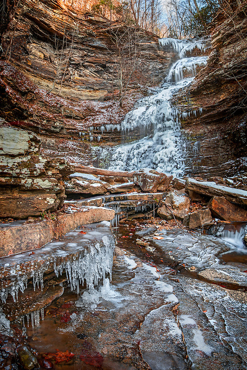 Cathedral Falls in Gauley Bridge, West Virginia draped in a fresh coat of ice and snow.
