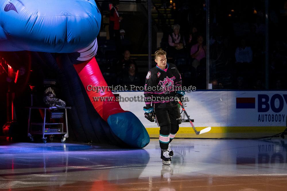 KELOWNA, BC - SEPTEMBER 21:  Kaedan Korczak #6 of the Kelowna Rockets enters the ice for home opener against the Spokane Chiefs at Prospera Place on September 21, 2019 in Kelowna, Canada. (Photo by Marissa Baecker/Shoot the Breeze)