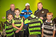 Forest Green Rovers Reece Brown(10) with the match sponsors during the The FA Cup match between Forest Green Rovers and Exeter City at the New Lawn, Forest Green, United Kingdom on 2 December 2017. Photo by Shane Healey.
