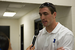 26 May 2007: Duke Blue Devils defenseman Ryan McFadyen (41) talks with media in the locker room after a 12-11 win over the Cornell Big Red in the NCAA Semifinals at M&T Bank Stadium in Baltimore, MD.