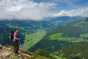 Zillertal, Tyrol, Austria hiker on the scenic trail