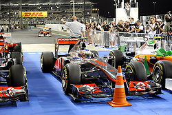 12.11.2011, Yas-Marina-Circuit, Abu Dhabi, UAE, Grosser Preis von Abu Dhabi, im Bild DHL Branding - Jenson Button (GBR),  McLaren F1 Team  // during the Formula One Championships 2011 Large price of Abu Dhabi held at the Yas-Marina-Circuit, 2011/11/12. EXPA Pictures © 2011, PhotoCredit: EXPA/ nph/ Dieter Mathis..***** ATTENTION - OUT OF GER, CRO *****