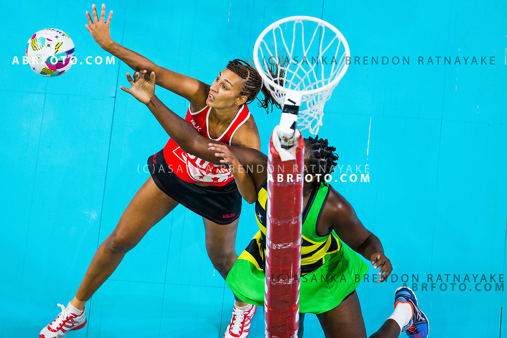 Geva Mentor and Jhaniele Fowler-Reid contest for the ball during Australia Vs Jamaica Fast5 Netball.