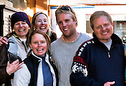 Friday, Feb 19, 2010;(from left) USA's Andrew Weibrecht's Sisters Kim and Katherine, Mom Kim,brother Ethan and father Ed celebrate after Andrew's Bronze medal finish in the Olympic Super G event at the Lake Placid Friendship House in Whistler, BC, Canada during the 2010 Winter Olympic Games (Photo/Todd Bissonette).
