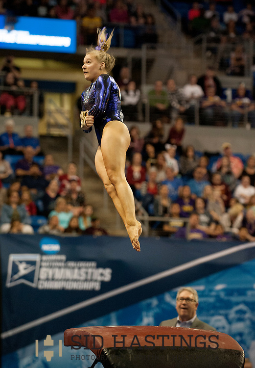 21 APRIL 2018 -- ST. LOUIS -- LSU gymnast Sarah Edwards competes in the Vault during the 2018 NCAA Women's Gymnastics Championship Super Six at Chaifetz Arena in St. Louis Saturday, April 21, 2018. The Tigers finished fourth in the nation during the meet.<br /> Photo &copy; copyright 2018 Sid Hastings.