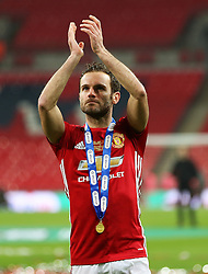 Juan Mata of Manchester United applauds the fans - Mandatory by-line: Matt McNulty/JMP - 26/02/2017 - FOOTBALL - Wembley Stadium - London, England - Manchester United v Southampton - EFL Cup Final