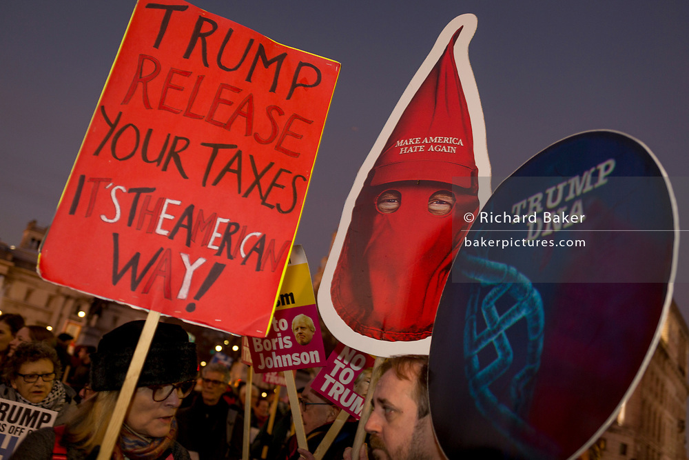 As US President Donald Trump visits London the for 75th anniversary of NATO, and a week before the UK's goes to the polls for its general election, anti-Trump protesters gather in Trafalgar Square before marching towards Buckingham Palace where the Queen was due to host Trump at a reception, on 3rd December 2019, in London, England.