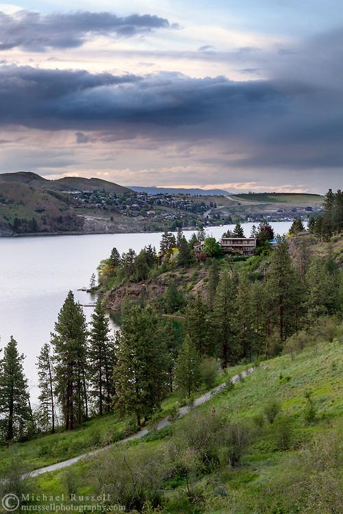 Homes along the shore of Kalamalka Lake in Coldstream and Vernon, British Columbia, Canada