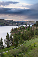 Homes along the shore of Kalamalka Lake in Coldstream and Vernon, British Columbia, Canada