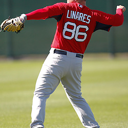 February 19, 2011; Fort Myers, FL, USA; Boston Red Sox outfielder Juan Carlos Linares (86) during spring training at the Player Development Complex.  Mandatory Credit: Derick E. Hingle