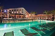 Poolside at dusk, Hilton Luxor Resort & Spa, Egypt