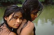 Machiguenga Indians at River<br />Timpia Community<br />Lower Urubamba River. Amazon Rain Forest,  PERU<br />South America