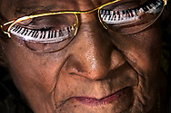 90-year-old Martha Turner, of Mt. Morris township,  is in her fourth semester of piano lessons at Mott Community College. She works practicing a piece of music during class.