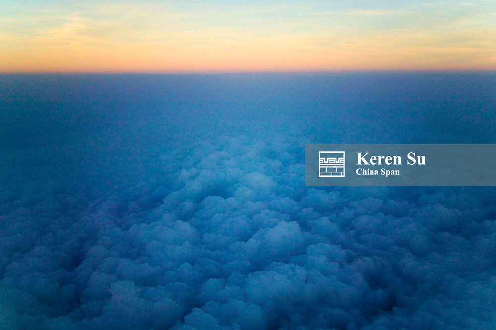 Aerial view of clouds from airplane, India