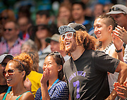 """Rapper Stefan Kendal Gordy - or """"Red Foo""""  (in white glasses) as he is known in music circles turned out at Melbourne's Rod Laver Arena to cheer on girlfriend Victoria Azarenka (RUS) as she defeated S. Stephens (USA) 6-3 6-2 on Monday."""