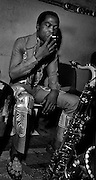 Fela Kuti backstage at the Shrine - Lagos 1978