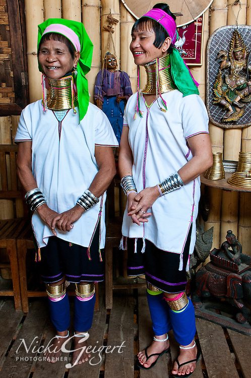 Women of the Kayan tribe with gold neck rings, Myanmar. Red Karen peoples. Exotic people and places fine art photography prints, wall art and stock images.