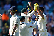 Wicket - Mitchell Marsh of Australia celebrates taking the wicket of Ben Stokes of England during the 5th International Test Match 2019 match between England and Australia at the Oval, London, United Kingdom on 12 September 2019.