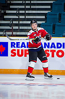 KAMLOOPS, CANADA - NOVEMBER 5:  Calen Addison #3 of Team WHL (Lethbridge Hurricanes) warms up against the Team Russia on November 5, 2018 at Sandman Centre in Kamloops, British Columbia, Canada.  (Photo by Marissa Baecker/Shoot the Breeze)