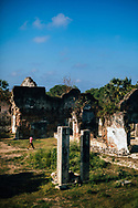 A man walks through the ruins of Jaffna Fort, Sri Lanka, Asia