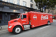 Coca-Cola truck in front of Doolin's Irish Pub.