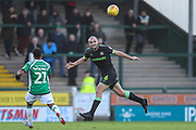 Forest Green Rovers Farrend Rawson(6) heads the ball during the EFL Sky Bet League 2 match between Yeovil Town and Forest Green Rovers at Huish Park, Yeovil, England on 8 December 2018.